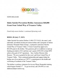 ISPH Receives Grant from United Way Treasure Valley